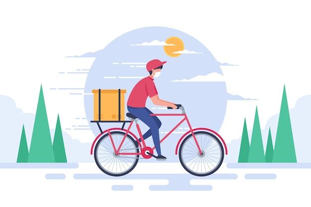 Servicio de entrega hombre en bicicleta vector gratuito