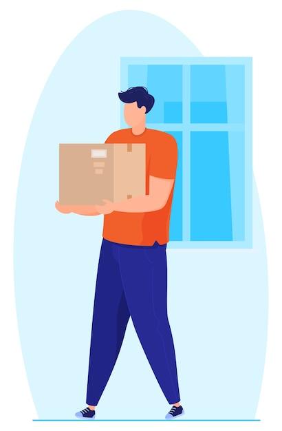 Servicio de entrega. el hombre lleva el paquete. Vector Premium