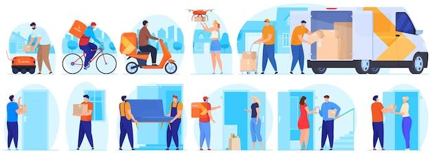 Servicio de entrega. el mensajero entrega el paquete. Vector Premium