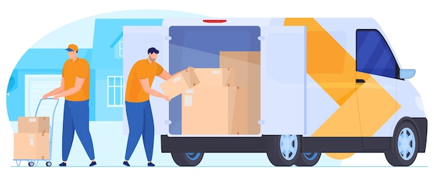 Servicio de entrega. los mensajeros descargan los paquetes del coche. Vector Premium