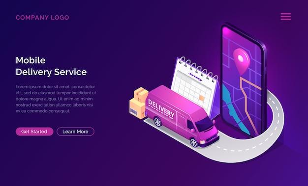Servicio de entrega móvil en línea aplicación isométrica vector gratuito