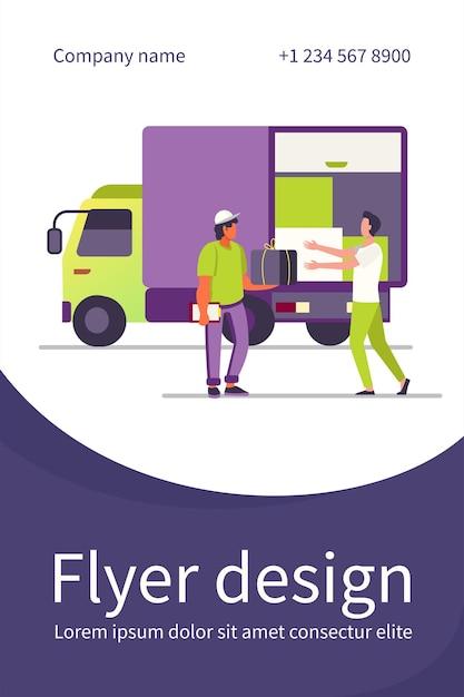 Servicio de entrega de pedidos. mensajero que entrega la caja del paquete al cliente cerca de la plantilla de volante plano de camión vector gratuito