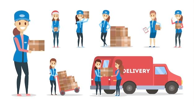 Servicio de entrega rápida establecido. mensajero femenino en uniforme azul con caja de la camioneta. concepto logístico ilustración en estilo de dibujos animados Vector Premium