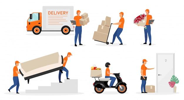 Servicio de entrega trabajadores conjunto de ilustraciones planas. Vector Premium
