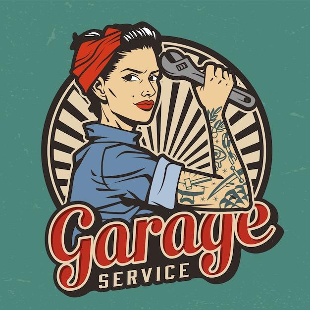 Servicio de garaje vintage malo vector gratuito