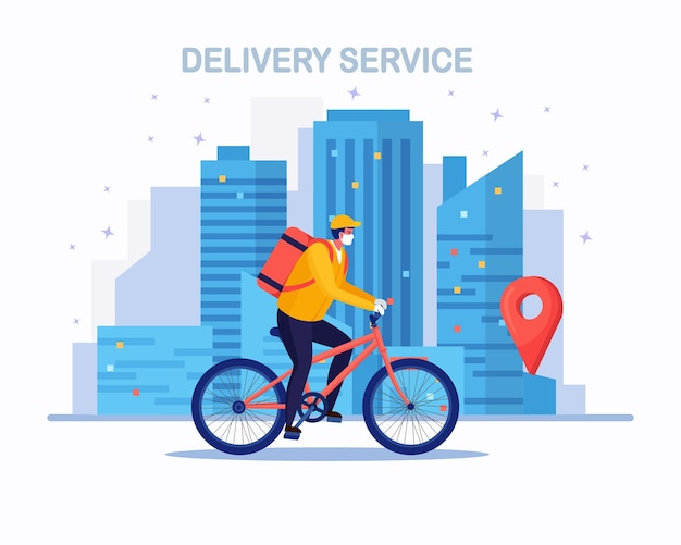 Servicio gratuito de entrega rápida en bicicleta. el mensajero entrega el pedido de comida. Vector Premium