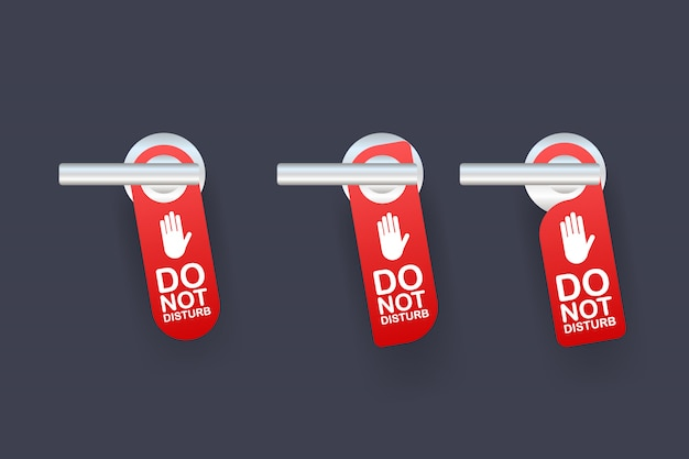 Servicio de habitaciones para el mensaje de advertencia del hotel. no moleste el letrero y el diseño de la manija de la puerta. ilustración. Vector Premium