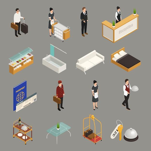 Servicio de hotel y personal turístico con iconos isométricos de muebles de equipaje aislados en gris vector gratuito