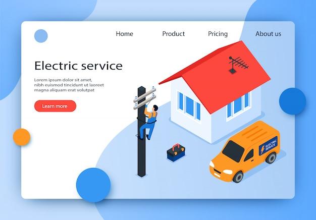 Servicio isométrico de ilustración vectorial eléctrica. Vector Premium