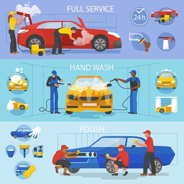Servicio de lavado de autos de vector de lavado de autos con personas que limpian el conjunto de ilustración de automóviles o vehículos de lavado de autos y lavadoras o limpiadores de personajes pulido de automóviles aislado en blanco Vector Premium