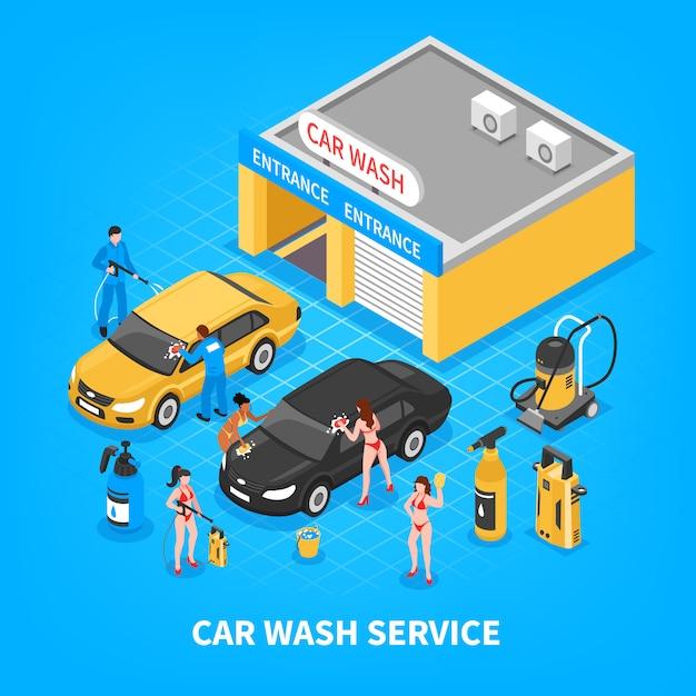 Servicio de lavado de coches ilustración isométrica vector gratuito