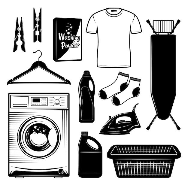 Servicio de lavandería y conjunto de elementos de diseño en estilo blanco y negro Vector Premium