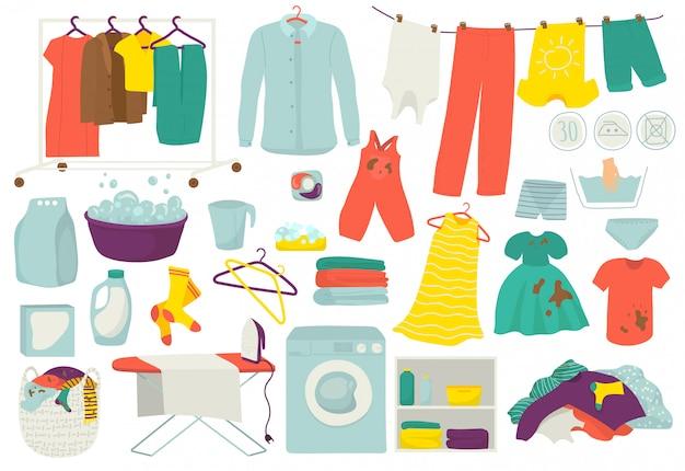 Servicio de lavandería, ropa limpia y sucia, conjunto de ilustraciones de lavado. iconos de lavado y planchado de ropa. lavadora, lavadora, cesto, detergente, jabón y lavadora automática. Vector Premium