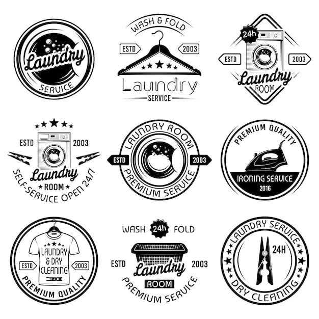 Servicio de lavandería y tintorería conjunto de emblemas negros, etiquetas, insignias y elementos de diseño Vector Premium