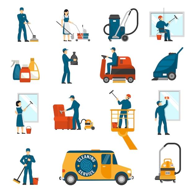 Servicio de limpieza industrial plano conjunto de iconos vector gratuito