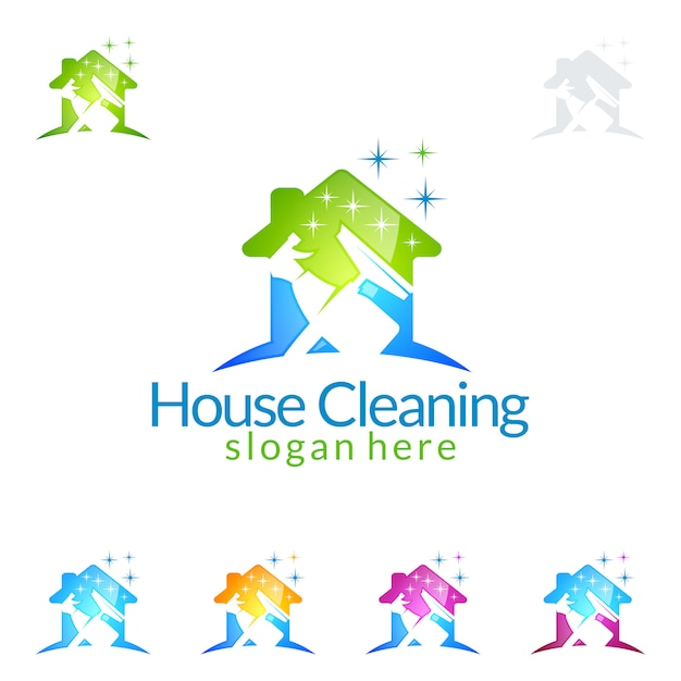 Servicio de limpieza logo design con house and spray Vector Premium