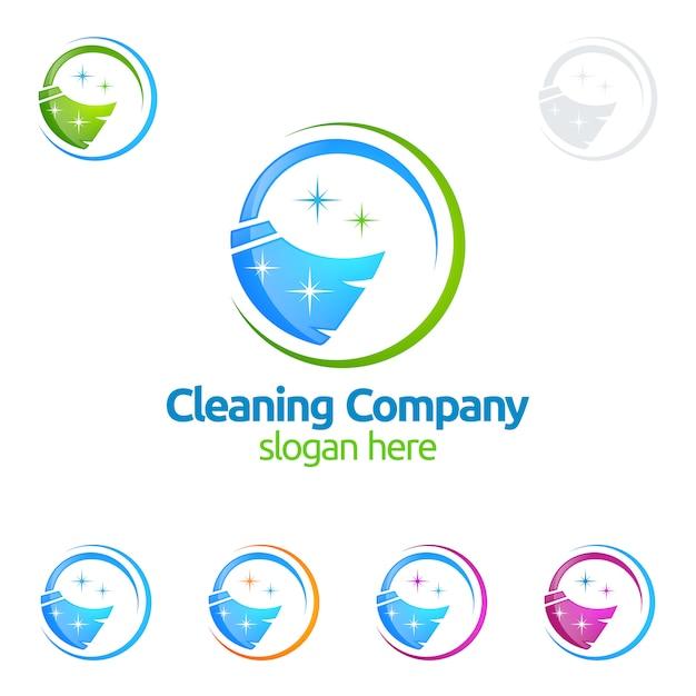 Servicio de limpieza logo design Vector Premium