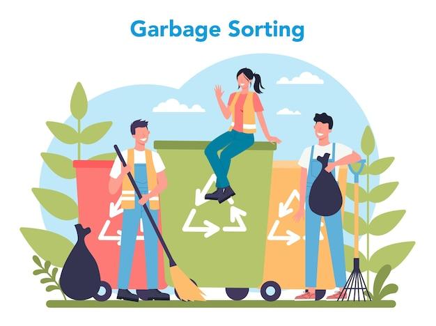 Servicio de limpieza o concepto de empresa. Vector Premium
