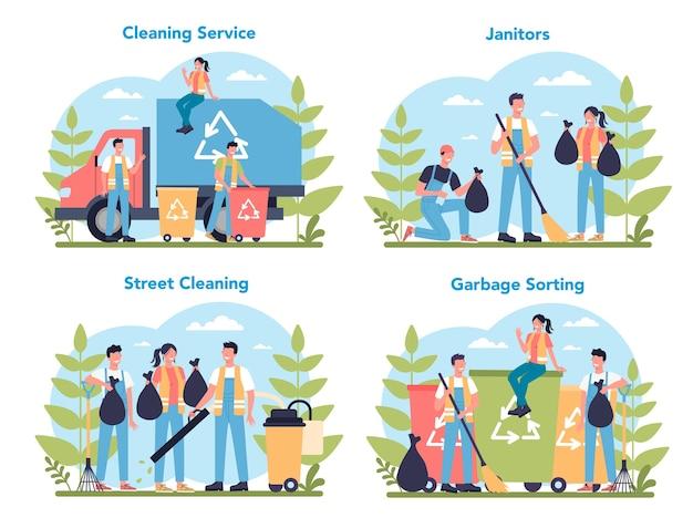 Servicio de limpieza o conjunto de concepto de empresa. personal de limpieza con equipo especial. trabajadores de conserjería limpiando calles y clasificando basura. Vector Premium