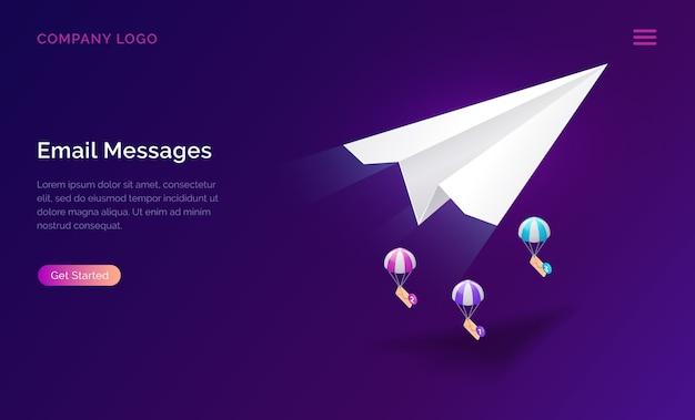 Servicio de mensajes de correo electrónico, concepto de marketing isométrico vector gratuito