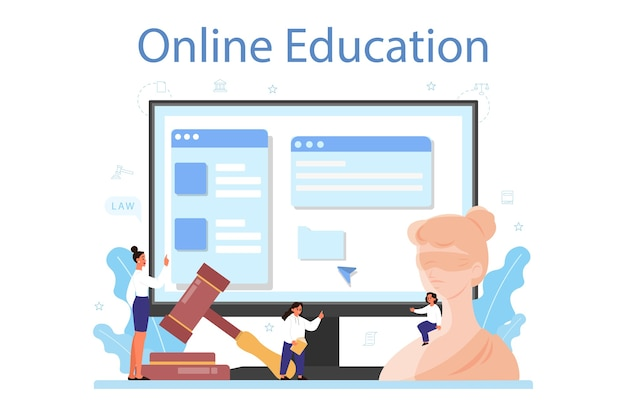 Servicio o plataforma en línea de la clase de derecho. educación sobre el castigo y el juicio. Vector Premium