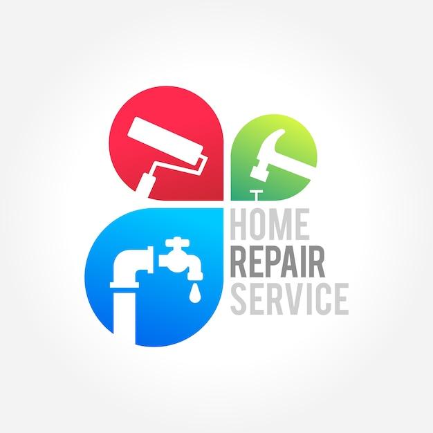 Servicio de reparación de casas diseño de negocios Vector Premium