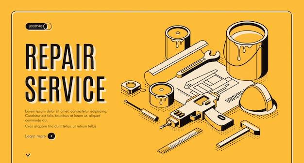 Servicio de reparacion isometrica banner vector gratuito