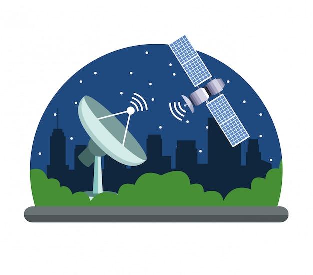 Servicio satelital de localización de gps. vector gratuito