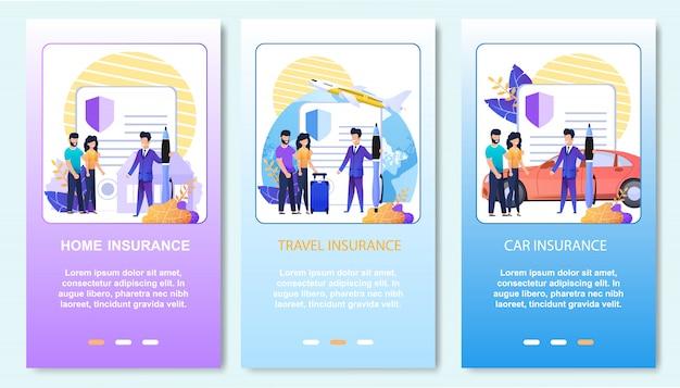 Servicio de soporte de seguros en línea. conjunto de páginas de inicio móviles Vector Premium