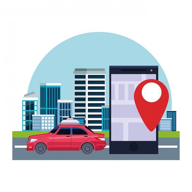 Servicio de taxis en coche. vector gratuito
