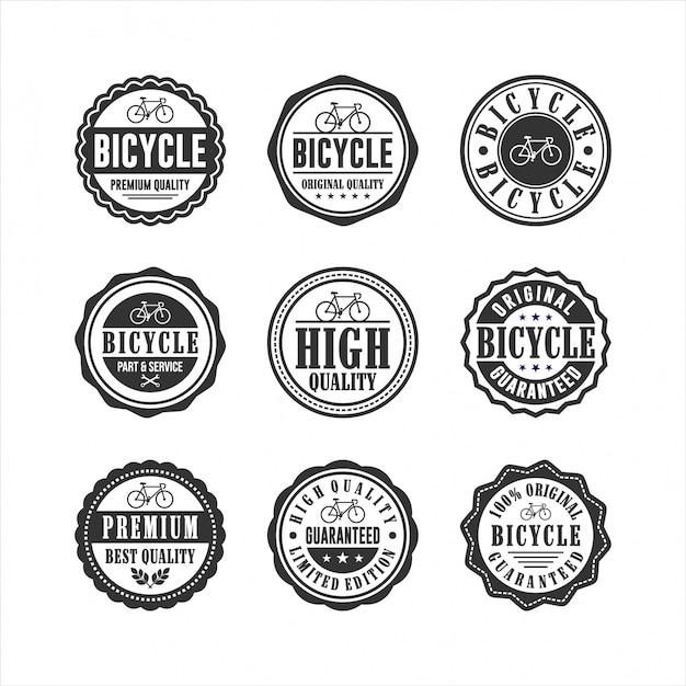 Servicio de tienda de bicicletas badge collection Vector Premium
