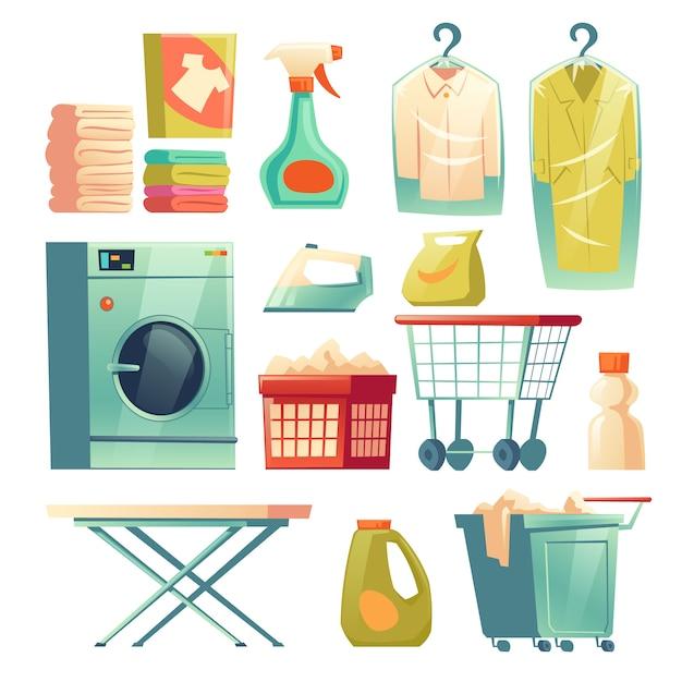 Servicio de tintorería, equipo de lavandería. vector gratuito