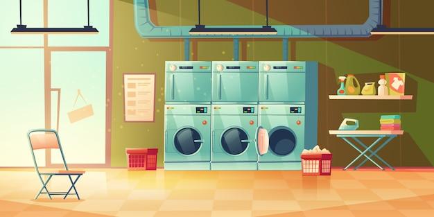 Servicio de tintorería, interior de la lavandería. vector gratuito