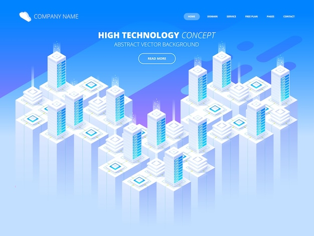 Servicios de alojamiento, centro de datos, sala de servidores, plantilla de página sobre el tema de las tecnologías de la información. ilustración isométrica Vector Premium