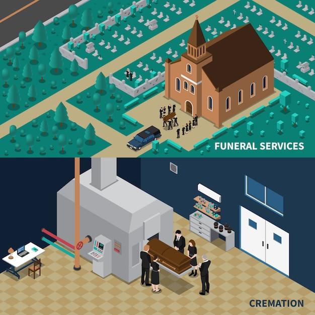 Servicios funerarios banners isométricos vector gratuito