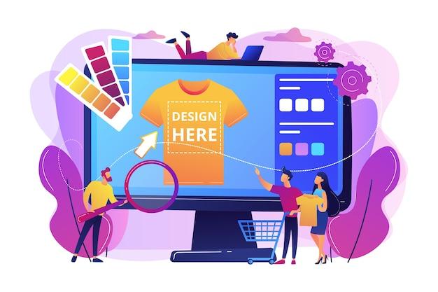 Servicios de impresión de camisetas bajo demanda. diseño de ropa promocional. merch ropa, productos personalizados de merchandising, concepto de servicio de diseño de merchandising. vector gratuito