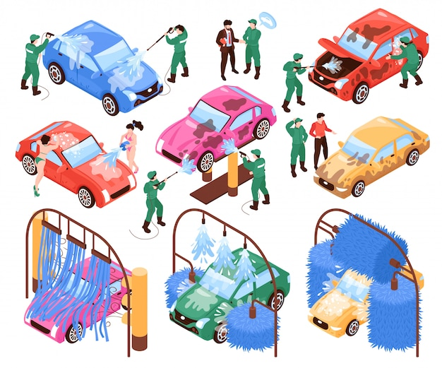 Servicios de lavado de autos isométricos conjunto de imágenes aisladas de trabajadores en uniformes y autos vector gratuito