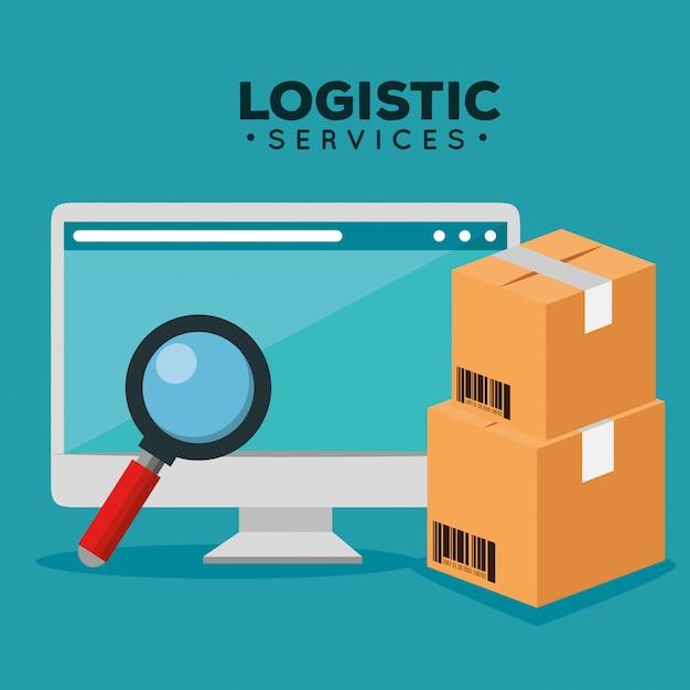 Servicios logisticos con computadora vector gratuito