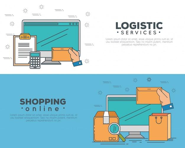 Servicios logísticos con conjunto de banner de computadora vector gratuito