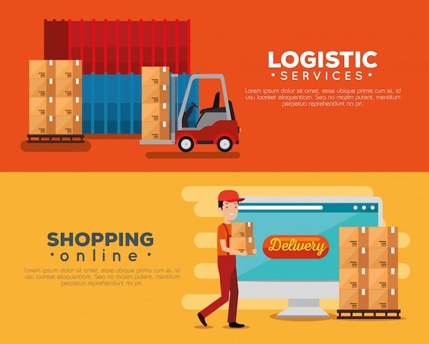 Servicios logísticos con conjunto de banner de trabajador de entrega vector gratuito