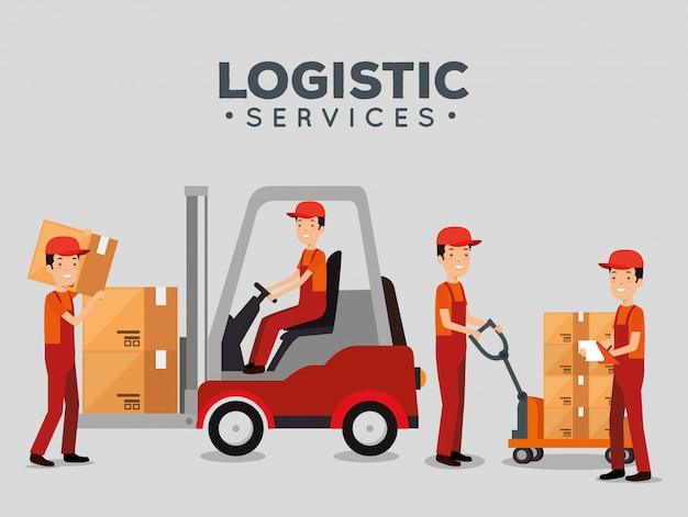 Servicios logísticos con trabajadores de entrega en equipo. vector gratuito