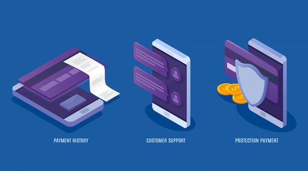 Servicios de pagos móviles de concepto. datos de protección financiera, tarjetas de crédito y cuentas. transacción de dinero, negocios, atención al cliente. ilustración isométrica 3d Vector Premium