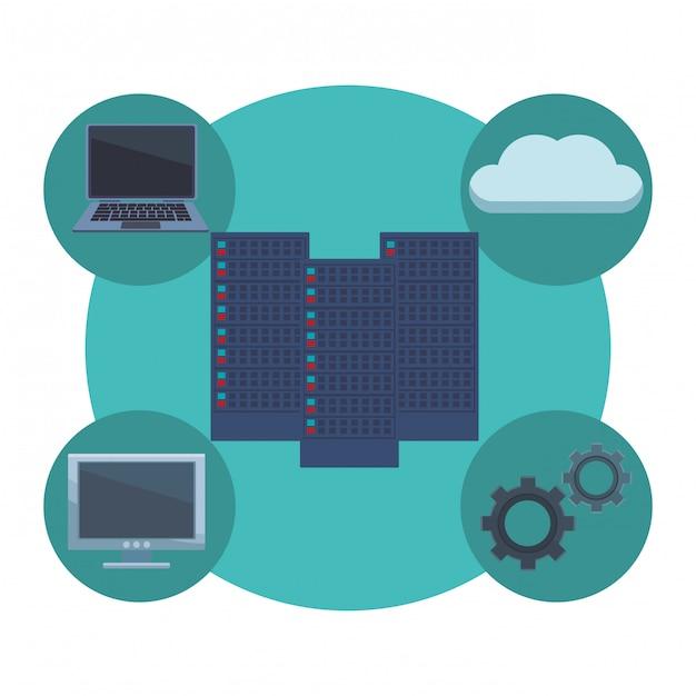Servidores con elementos informaticos Vector Premium