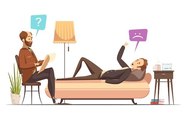 Sesión de psicoterapia en la oficina del terapeuta con un paciente en el sofá hablando de su carrito retro sentimientos vector gratuito