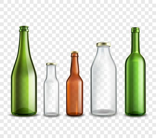 Set 3d de botellas de vidrio realista vector gratuito