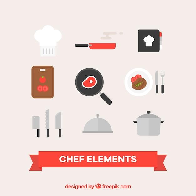 Set de accesorios de cocina en diseño plano   Vector Gratis