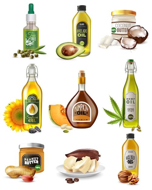 Set de aceites vegetales realistas vector gratuito