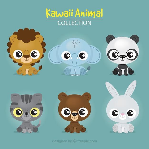 Set de adorables animales vector gratuito