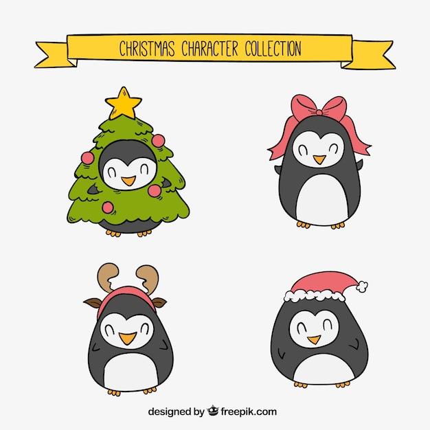 Set De Adorables Pingüinos Navideños Descargar Vectores Gratis