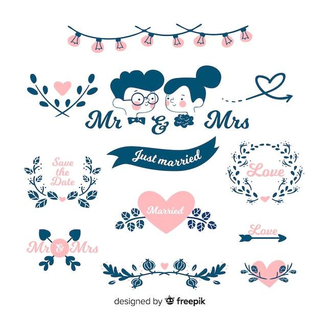 Set de adornos de boda dibujados a mano vector gratuito